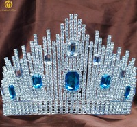 Blue Crystal Miss Universe Pageant Tiaras Large Crowns Clear Rhinestone Headpiece Wedding Bridal Prom Party Costumes