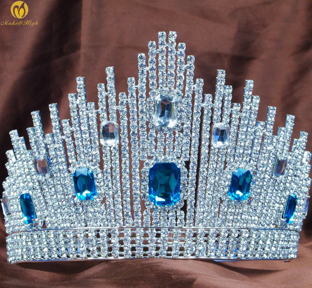 Blue Crystal Miss Universe Pageant Tiaras Large Crowns Clear Rhinestone Headpiece Wedding Bridal Prom Party Party Prom