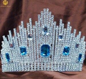 Niebieski kryształ Miss Universe korowód diadem duże korony wyczyść Rhinestone chluba ślub bal weselny stroje imprezowe