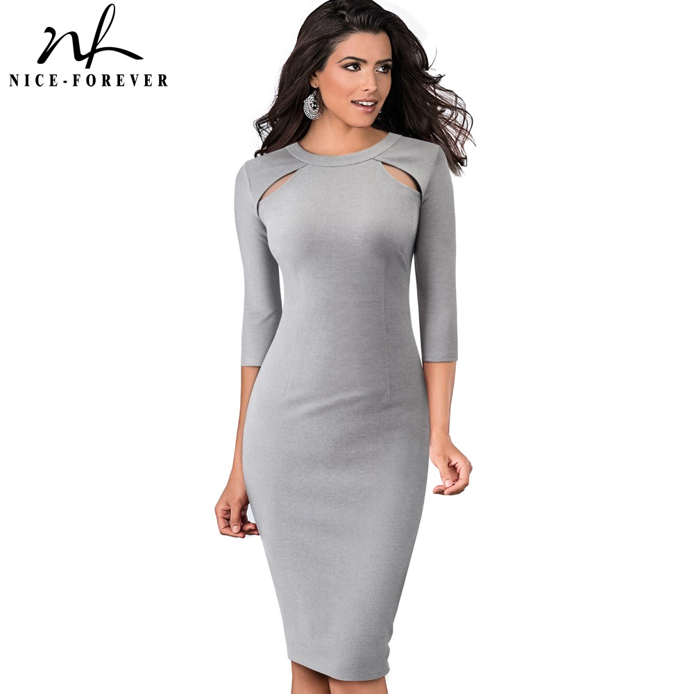 Nice-forever Vintage Pure Color Hollow Out Round Neck Vestidos Business Party Bodycon Elegant Office Work Women Dress B488