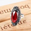 925 Sterling silver Fashion Natural semi-precious stones Vintage Garnet Rings Women fairy jewelry accessories girlfriend gift