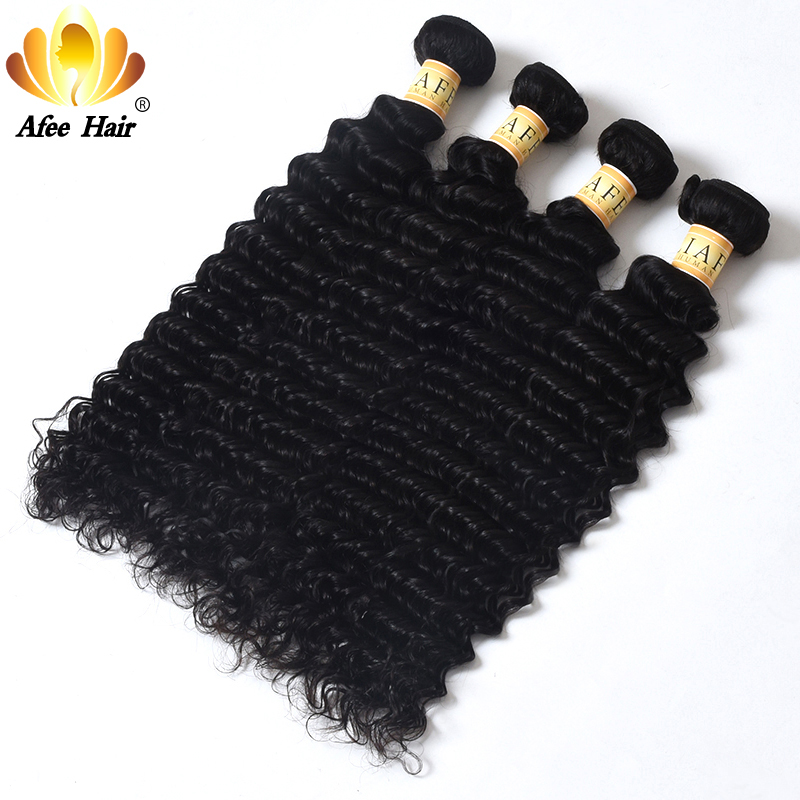 Aliafee Hair 4 Bundles Deal Deep Wave Brazilian Hair Weave Bundles - Mänskligt hår (svart) - Foto 3
