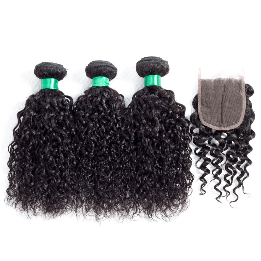 Peruvian Water Wave Human Hair Bundles With Lace Closure 4Pcs Lot Natural Black Color Human Hair