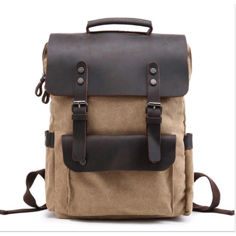 Мужская сумка цвета хаки/кофе, повседневный холщовый рюкзак для ноутбука, мужские Компьютерные рюкзаки для колледжа, Студенческая сумка на плечо, школьная сумка