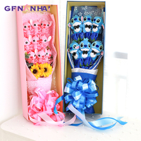 Lovely Stitch & Stitch Lilo Festivals Gift Bouquet with Fake Rose Flowers Silicone doll Children Girlfriend Valentine's Gifts