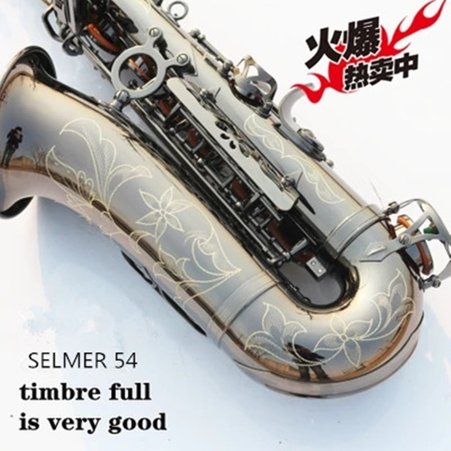 Sax instruments SELMER 54 E flat black nickel light alto saxophone The special offer shipping high-grade carved beginner instru alto saxophone selmer 54 brass silver gold key e flat musical instruments saxophone with cleaning brush cloth gloves cork strap