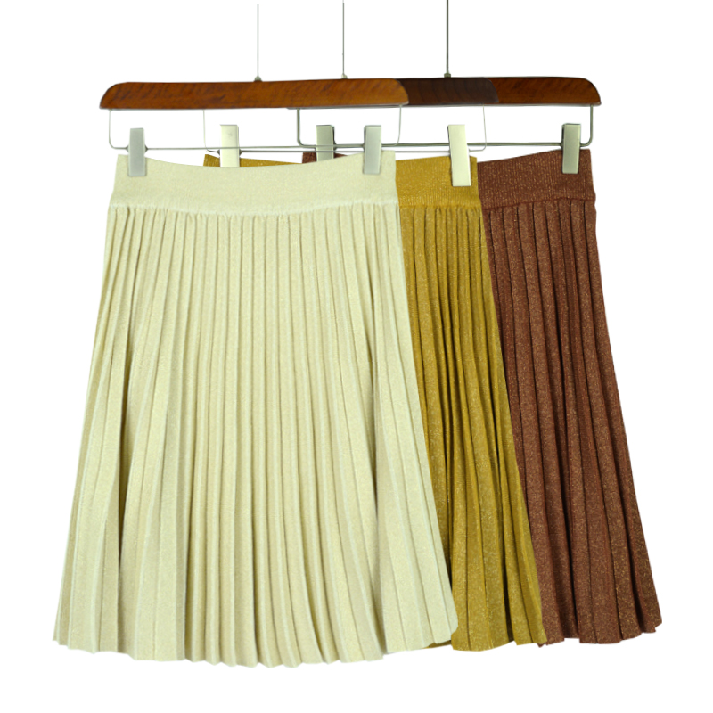 women high waist skirts Lurex ice-silk spring autumn coffee grace sweet elasticity pleated skirt falda cintura elastica mujer
