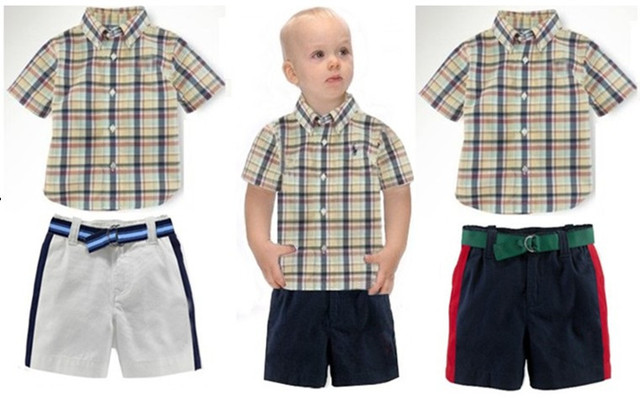 8f55a11cc1a9 boy wear Summer baby boys brand POLO t shirt + shorts set New kids casual  polo Horse plaid shirt pants sets Children polo top