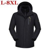 Новые Большие размеры 10XL 9XL 2 в 1 Для мужчин Куртки Для мужчин верхняя одежда пальто мужские повседневные два Костюм из нескольких предметов