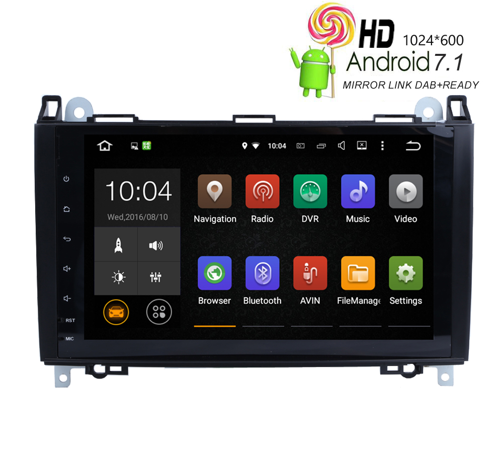 HIRIOT 9'Car Android 7.1.1 Car DVD <font><b>GPS</b></font> Player For <font><b>Mercedes</b></font> Benz Sprinter Viano Vito W169 W209 W245 <font><b>B180</b></font> Radio BT Wifi/4G Dab MAP image