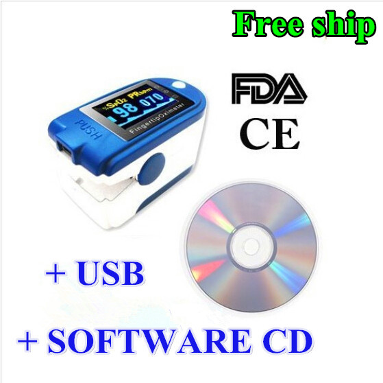 CMS 50D+ Blue Finger Pulse Oximeter with USB and Sofware blood oxygen USA FDA CEsaturometre pulsoximeter oximetro de dedo blood