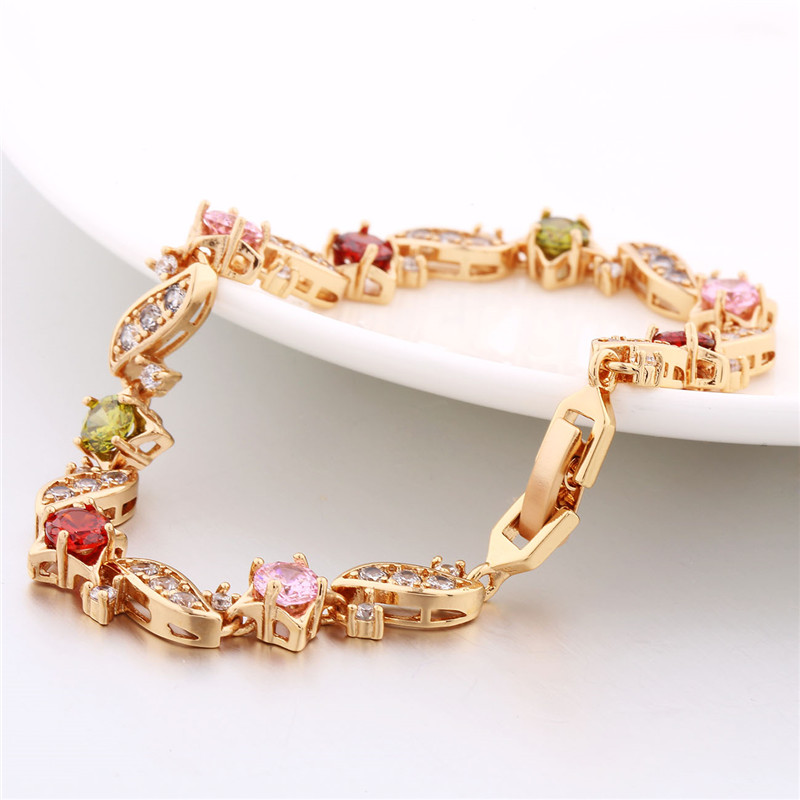 BUDONG 18cm Fashion Hand Bracelets for Women Silver/Gold Color Bracelet Pink Crystal Cublic Zirconia Jewelry Bangles XUL104 9