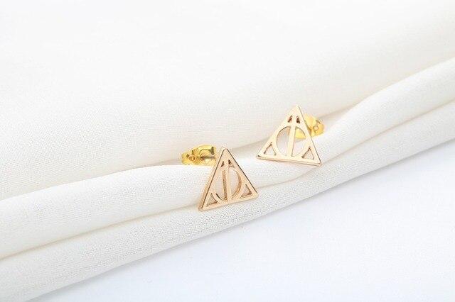 Todorova mode Steampunk petit géométrique Simple reliques de mort Luna Triangle boucles doreilles pour femmes minimaliste marque bijoux