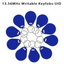 Real 13.56 mhz uid mutável keyfobs token mf nfc tag regravável rfid cartão chave de controle de acesso gravável usado para copiar/clone cartão