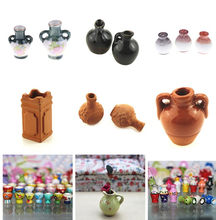Dollhouse Miniatures 1:12 Mini Flower Pot DIY Handmade Doll Houses Kitchen Pottery Ceramic Ornament Decor Vase(China)