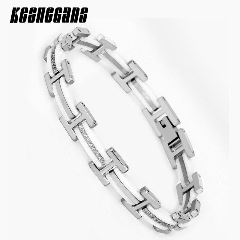 New Design 20cm White Ceramic Bracelet Health Stainless Steel Bling AAA Zircon Full Crystal For Women Chain Link Fashion Jewelry