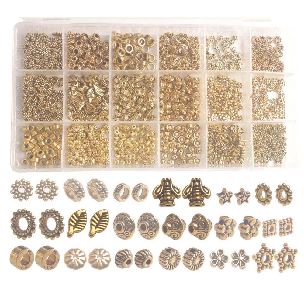 Bir Kutu 900 ADET 18 Stilleri Antika Altın Metal halka boncuk Aksesuarları Takı Yapımı için