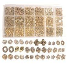 Boîte de perles d'espacement en métal doré antique, 18 Styles, 900 pièces, accessoires pour la fabrication de bijoux, une boîte