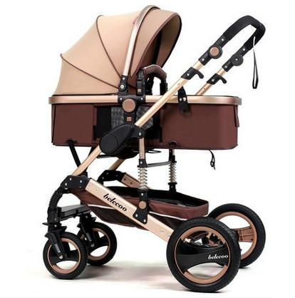 Paisaje de alta plegable de dos vías cochecito de bebé puede sentarse mentira choque en las cuatro ruedas carro del bebé