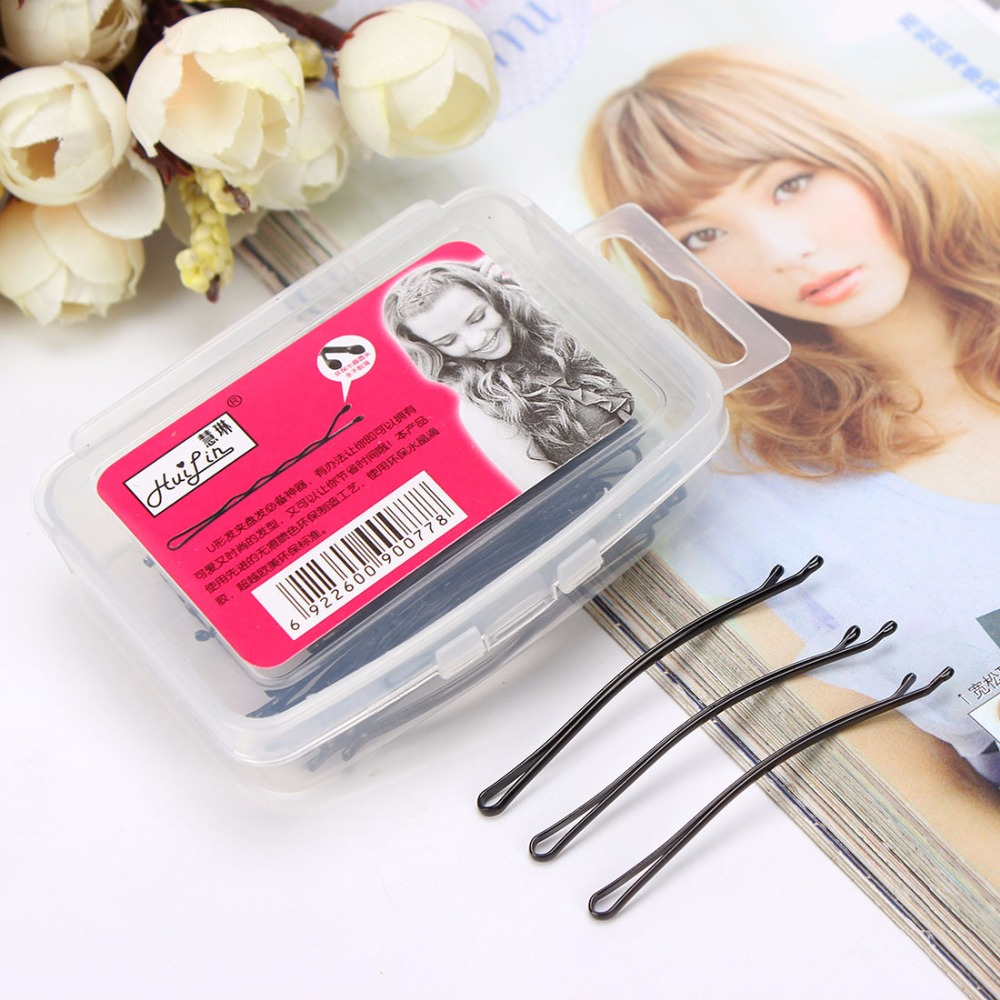 4 Kinds Simple Black Bobby Pins Metallic Hair Clips and Pins Transparent Plastic Box Package   Headwear   Women Hair Accessories
