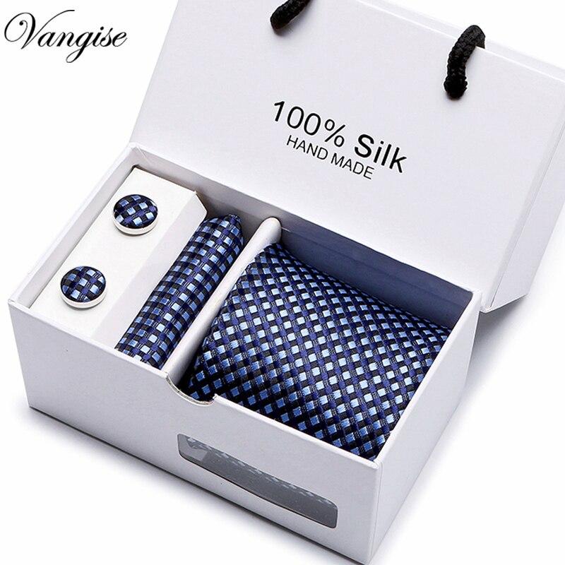 Novos homens Xadrez laços definir Tamanho Extra Longo 145 cm * 8 cm marinha Gravata azul Paisley Tecido Jacquard de Seda gravata Festa de Casamento Terno