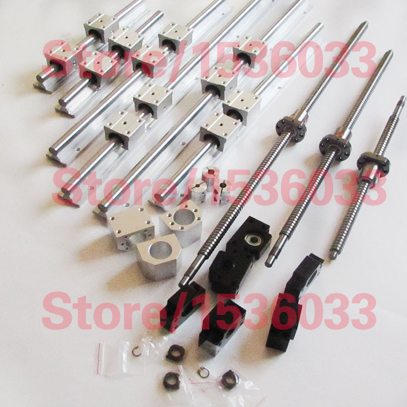 6pcs SBR16 linear guideway Rail+3pcs SFU1204 SFU1605 ballscrews RM1605 balls screw RM1204+3sets BK12BF12/BK10BF10+3pcs coupling