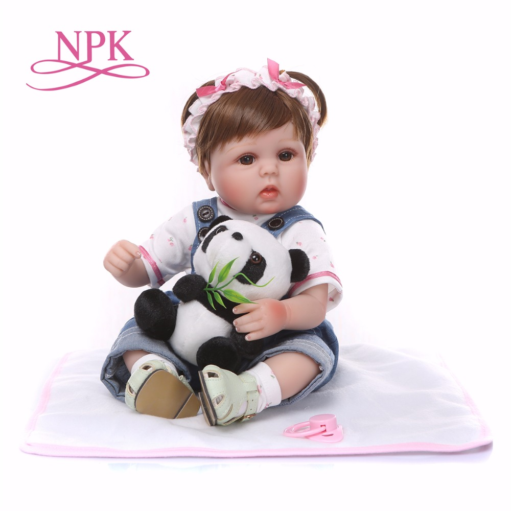 Bebes reborn real NPK doll 1840cm soft silicone reborn baby doll with panda clothing set birthday gift for child
