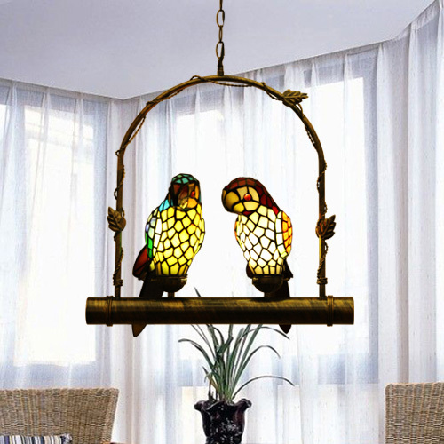 Hanging Lamp Price: Tiffany Stained Glass Two Parrots Pendant Light Hanging