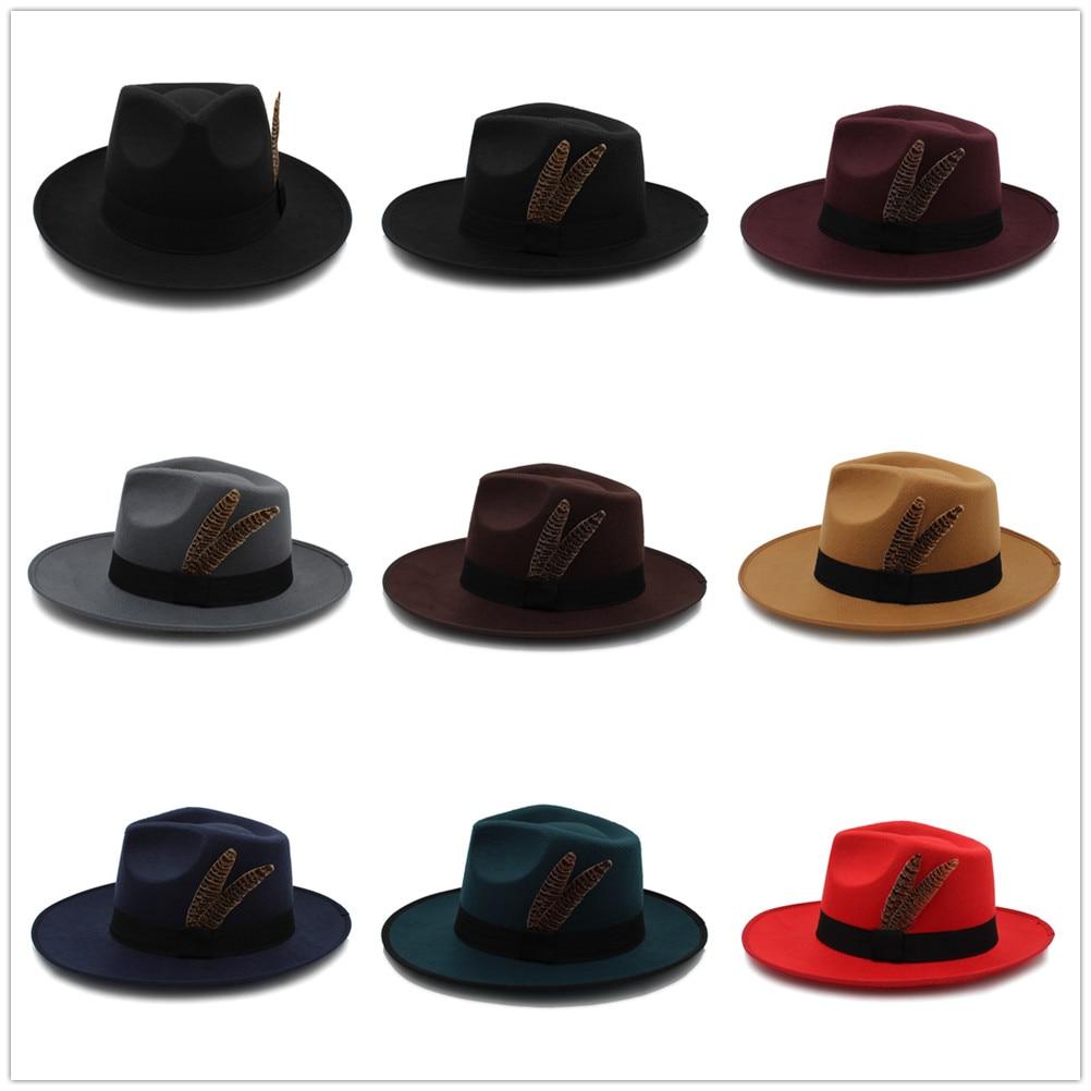 Fashion Women Men Felt Fascinator Fedora Hat Winter Autumn Wide Brim Jazz  Hat Gentleman Sombrero Dad 8dd8ac57a5f0