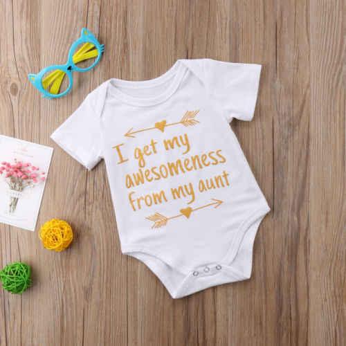9484e9926a47 ... New Summer Infant Baby Boys Girls Stylish Bodysuit Letter Print Aunt  cotton Jumpsuit clothes Short Sleeve ...