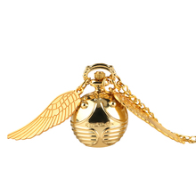 Pocket-Watch Ball-Shape Dial Women's Golden with Angle-Wings Stylish Small