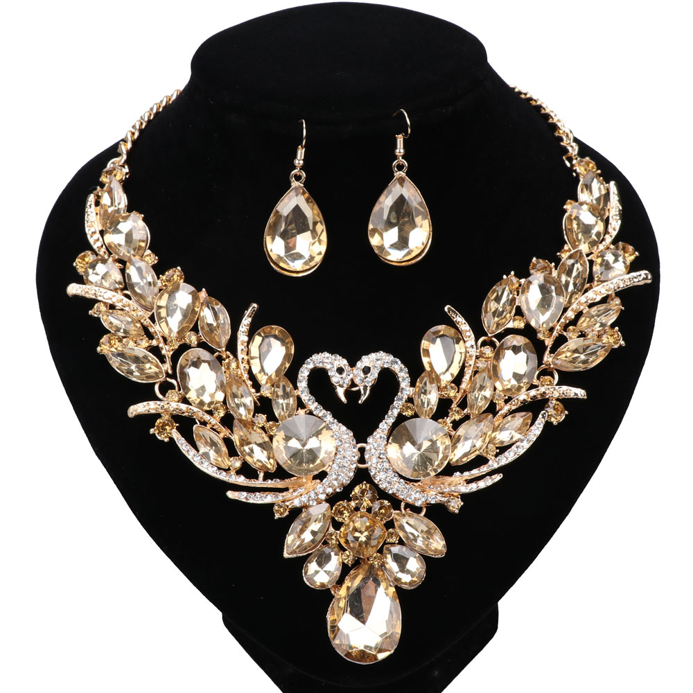Golden Champagne Crystal New Collier Femme Double Swan Statement Necklace Earring For Women Party Wedding Jewelry Set