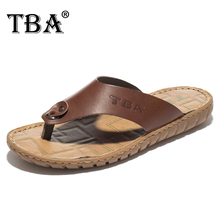 TBA 2016 New Arrival Men's Cow Leather Open-Toed Men's Slippers Cool Summer Breathable Man Flip Flops Brown Beach Slippers 5701