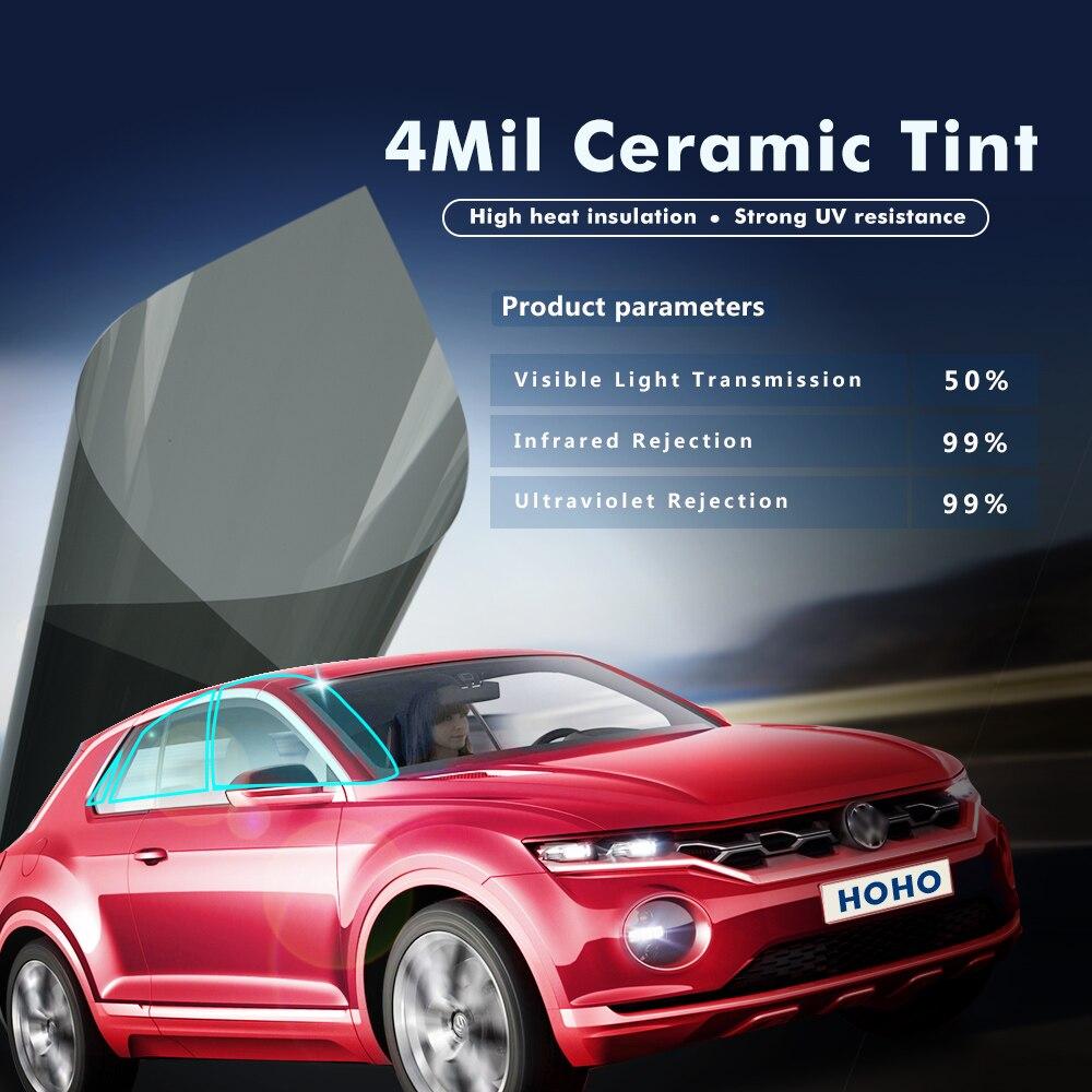 0.5x20m/20x66ft 4mil Car Nano Ceramic Window Tint 50%VLT Curtains Tinting Film Solar Protection Sun Shade For Auto Side Window