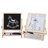 Drawing Board Educational Toy Children Kids 2 In 1 Black White board magnetic Wooden Easel Chalk eraser painting board Fold