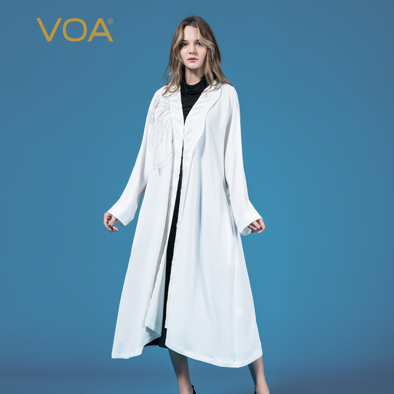 VOA Korea Chic Cardigan Long Trench Coat Women White Embroidery Outerwear Casual Heavy Silk Outwear Female Elegant Clothes F500