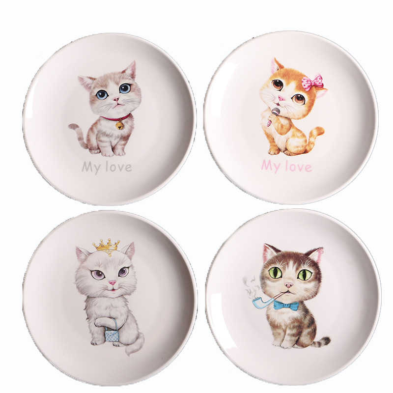 Ceramics Cartoon Cat Dinner Flat Plate Tableware Lovely Style  Porcelain Plate Breakfast Plate Steak Dishes Salad Food Tray 1pcs