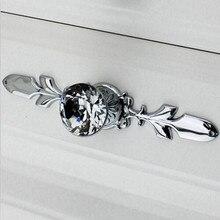 Fashion deluxe rhinestone drawer cabinet knob silver dresser wardrobe door pull glass crystal chrome furniture door handles