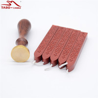 Wine Red Seal Wax Stick With Wick Personalised Custom Made Design Stamp With Wooden Handle For