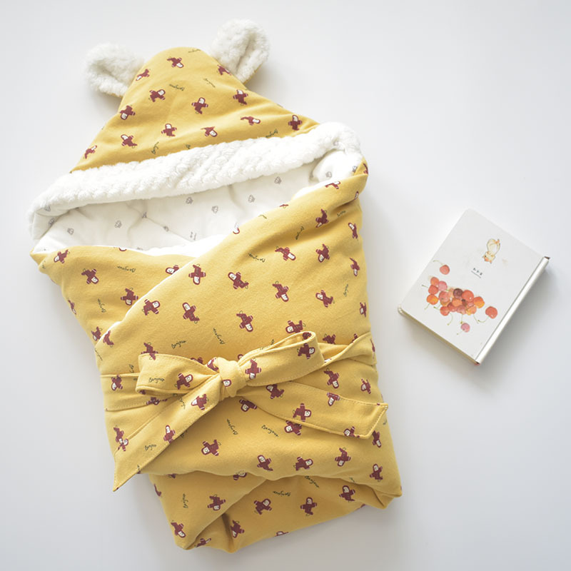 Image 3 - Baby Discharge Envelope for Newborns Cotton Cartoon Blanket For Kids Soft Warm Wrap For Baby Girl Boy Sleeping Bag 80x80cm-in Blanket & Swaddling from Mother & Kids