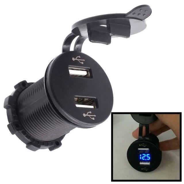 4.2A 2.1A y 2.1A Dual USB Cargador de Enchufe de Toma de Corriente con un Voltímetro para el Barco Del Coche Del Teléfono Móvil A Prueba de agua