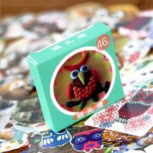 46 Pcs/bag Kawaii owl Mini Paper Stickers DIY Diary Scrapbook Notebook Album Cup Phone Decor Sticker Stationery Free shipping