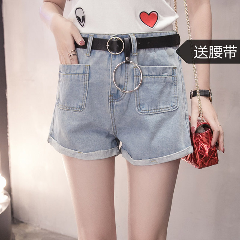 Shorts Women 2017 Xiajichu All-match Dual Pocket Wash Volume Edge Cowboy Shorts Tight Pants Woman