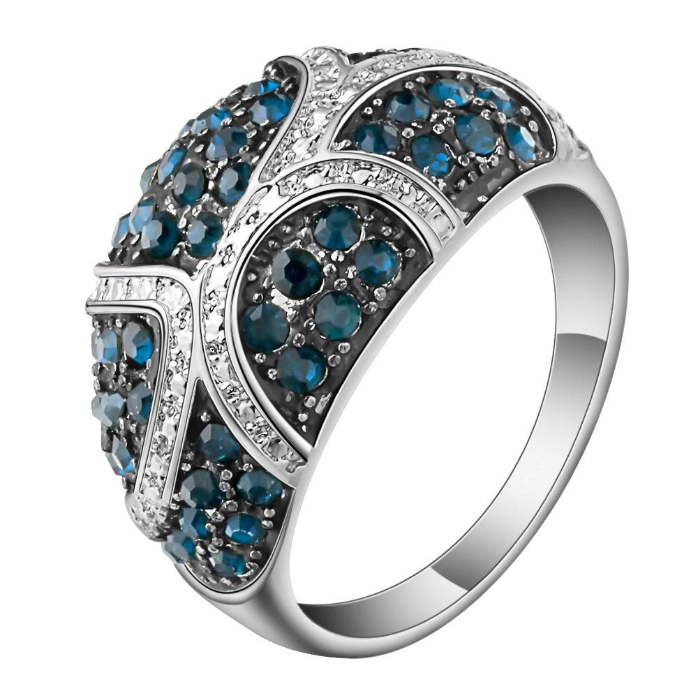 Hainon Blue Crystal Rhinestone Rings Jewelry Vintage Retro Ring for Woman Big Silver Color Party Engagement Rings ...