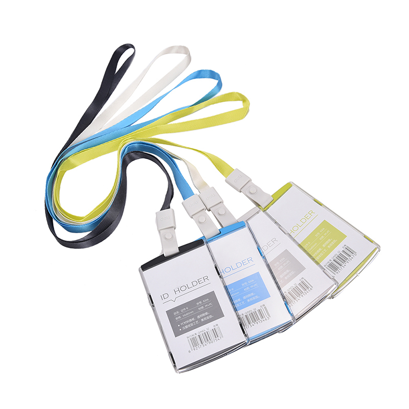 1PC Plastic Company Business Card Holder Card Bag  Passport Cover With Colorful Nack Lanyard Name Badge Card Case