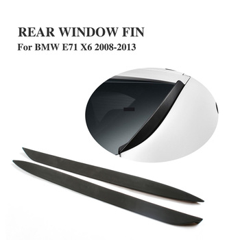Car Rear Window Fin Side Fins Wing Windshield Spoiler For BMW E71 X6 X6M 2008-2013 PU Black Primer 1Pair image