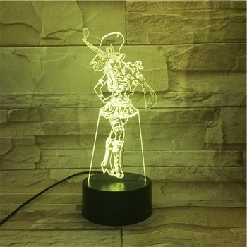 League of Legends LoL Heros Table Lamp Touch Sensor 7 Color Changing the Sheriff of Piltover Caitlyn LED Night Light Bedroom printio sheriff