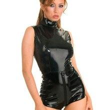 cc87f24b8c Black Latex PVC Bodysuit Cat Women Faux Leather Catsuit Erotic Wet Look  Bodycon Punk Fetish Sexy