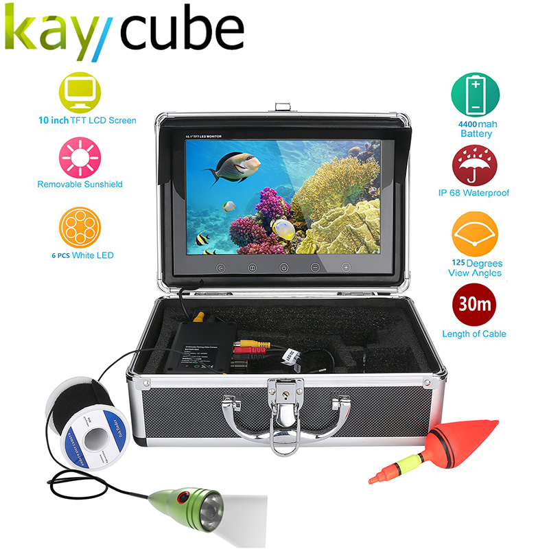Kaycube 10 Inch Color Monitor 50M 1000tvl Underwater Fishing Video Camera Kit 6 PCS LED Lights IP68 Underwater Exploration