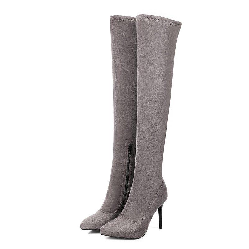 Talons Fur Fur Pointu Gris Le Sur Black Flock black Not Femmes Bottes Mode Genou Asumer Noir Fur With Arrivent Bout Minces Nouveau gray De 2018 Tirette Dames MVSpUz